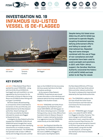 Infamous IUU-listed vessel is de-flagged
