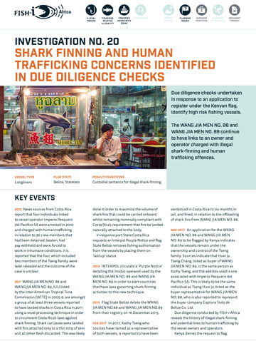 Shark finning and human trafficking concerns identified